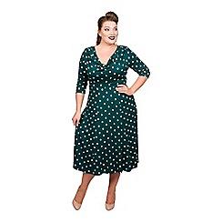 Scarlett & Jo - Green viscose midi length plus size fit and flare dress