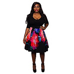 Scarlett & Jo - Black plus size 2-in-1 midi dress