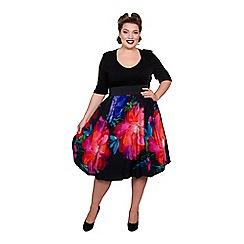 Scarlett & Jo - Multicoloured jersey midi length plus size floral dress