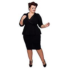 Scarlett & Jo - Black jersey crepe midi length plus size peplum dress