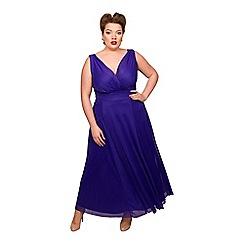 Scarlett & Jo - Dark blue polyester long plus size maxi dress