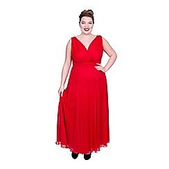 Scarlett & Jo - Red polyester long plus size maxi dress