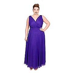 Scarlett & Jo - Purple polyester long plus size maxi dress