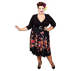 Scarlett & Jo - Black floral plus size 2-in-1 midi dress