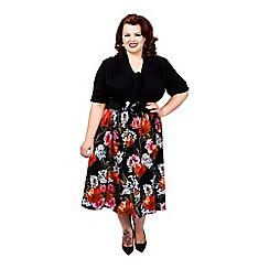 Scarlett & Jo - Black and floral plus size 2 in 1 midi dress
