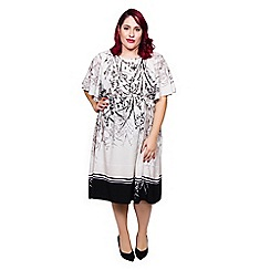 Scarlett & Jo - Grey oriental plus size kimono midi dress