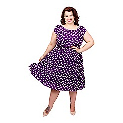 Scarlett & Jo - Purple plus size heart print midi dress
