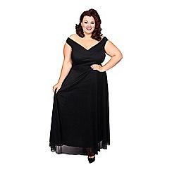 Scarlett & Jo - Black plus size off shoulder wrap gown