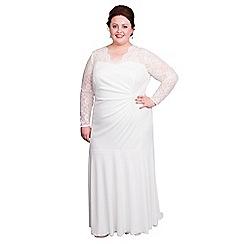 Scarlett & Jo - Ivory plus size bridal lace neck dress
