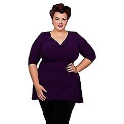 Scarlett & Jo - Purple plus size cowl neck tunic