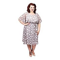 Scarlett & Jo - Grey plus size polkadot dress