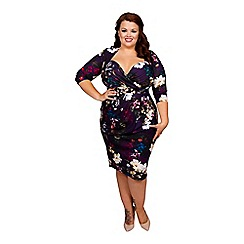 Scarlett & Jo - Autumn bloom print plus size twist skirt bodycon dress