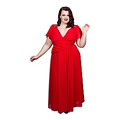 Scarlett & Jo - Red plus size embroidered dress