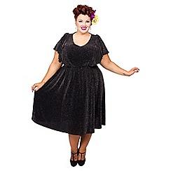 Scarlett & Jo - Black and silver plus size lurex dress