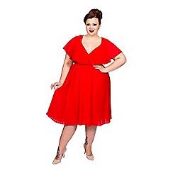 Scarlett & Jo - Red plus size pleat skirt chiffon dress