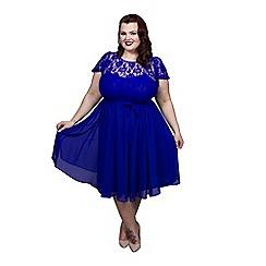 Scarlett & Jo - Blue plus size lace dress