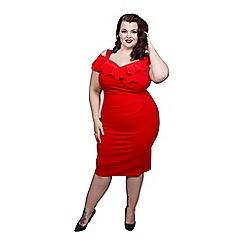 Scarlett & Jo - Red plus size bardot bodycon dress
