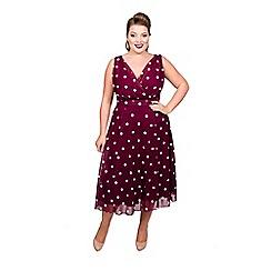Scarlett & Jo - Maroon polyester midi length plus size smart dress