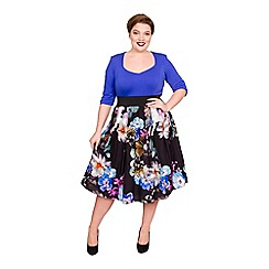 Scarlett & Jo - Multicoloured jersey midi length plus size floral dress