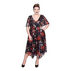 Scarlett & Jo - Multicoloured chiffon knee length plus size rose dress