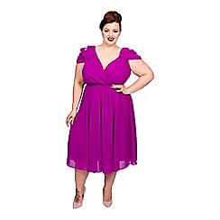 Scarlett & Jo - Purple plus size cold shoulder dress