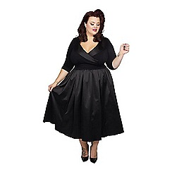 Scarlett & Jo - Black polyester midi length plus size velvet dress