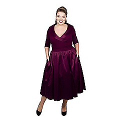 Scarlett & Jo - Maroon satin midi length plus size smart dress