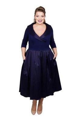 Scarlett &Amp; Jo   Mid Blue Satin Midi Length Plus Size Smart Dress by Scarlett & Jo