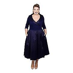 Scarlett & Jo - Mid blue satin midi length plus size smart dress