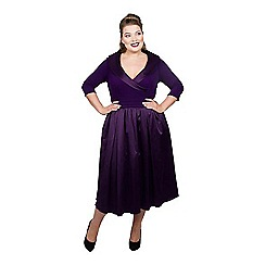 Scarlett & Jo - Purple satin midi length plus size smart dress