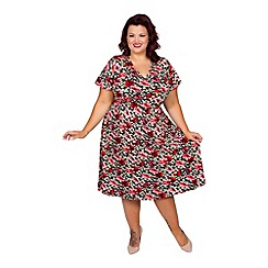 Scarlett & Jo - Floral plus size angel sleeve fit and flare dress