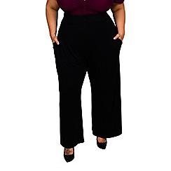 Scarlett & Jo - Black plus size high waist wide leg trousers