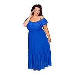 Scarlett & Jo - Blue plus size frill cold shoulder maxi dress