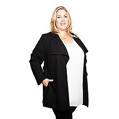 Scarlett & Jo - Black viscose thigh length plus size wide collar jacket
