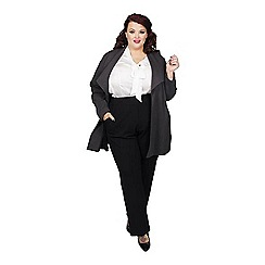Scarlett & Jo - Grey viscose thigh length plus size long line jacket