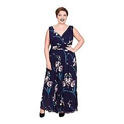 Scarlett & Jo - Navy viscose long plus size maxi dress
