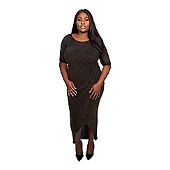 Scarlett & Jo - Black lurex full length plus size bodycon dress