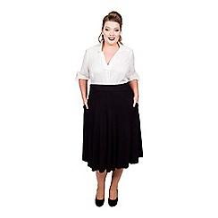 Scarlett & Jo - Black viscose midi length plus size jersey skirt