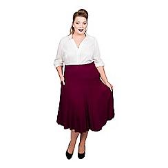 Scarlett & Jo - Maroon viscose midi length plus size jersey skirt