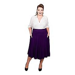 Scarlett & Jo - Purple viscose midi length plus size jersey skirt