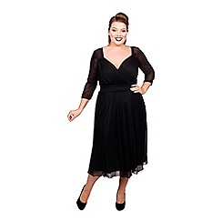 Scarlett & Jo - Black polyester midi length plus size little black dress