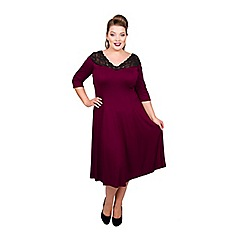 Scarlett & Jo - Maroon viscose midi length plus size jersey dress