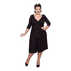 Scarlett & Jo - Multicoloured viscose midi length plus size fit and flare dress