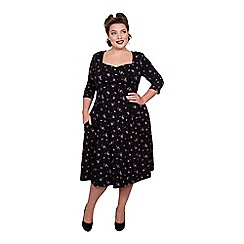 Scarlett & Jo - Multicoloured viscose midi length plus size fit and flare dress