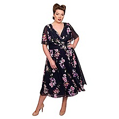 Scarlett & Jo - Multicoloured polyester midi length plus size floral dress