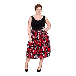 Scarlett & Jo - Multicoloured viscose midi length plus size jersey skirt