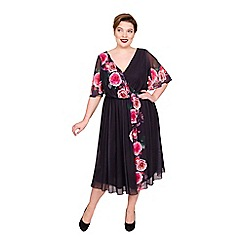 Scarlett & Jo - Multicoloured polyester knee length plus size floral dress