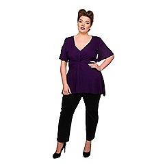 Scarlett & Jo - Purple viscose v neck plus size jersey blouse