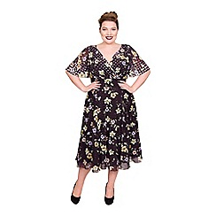 Scarlett & Jo - Multi-coloured polyester midi length plus size floral dress