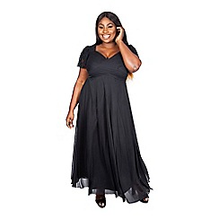 Scarlett & Jo - Black plus size eva lace maxi gown